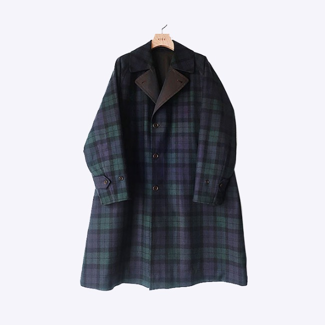 [캡틴선샤인]KAPTAIN SUNSHINE_리버시블 체스터필드 코트 REVERSIBLE CHESTERFIELD COAT BLACK WATCH X NAVY COTTON GABARDINE