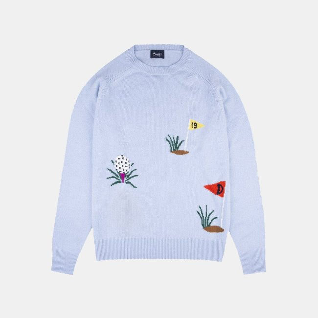 [드레익스] Drake's_Cashmere Intarsia Golf Jumper Light Blue