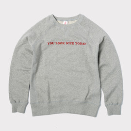 [유룩나이스투데이] YOU LOOK NICE TODAY_로고 코튼 크루넥 헤더그레이 Logo Cotton Crewneck(Regular Fit) Heather Gray