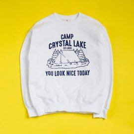 [유룩나이스투데이] YOU LOOK NICE TODAY _ 울트라 코튼 크루넥 화이트 (FRIDAY THE 13TH) ULTRA COTTON CREWNECK (USA FIT) WHITE