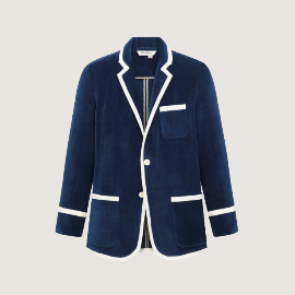 [로잉 블레이저] Rowing Blazers_NAVY TERRY CLOTH BLAZER WITH CREAM TRIM_3-roll-2 single breasted terry cloth blazer