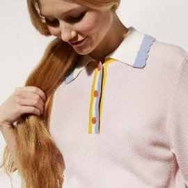 [르 몽생미셸] LE MONT SAINT MICHEL _PIQUÉ KNIT POLO SWEATER PINK (WOMENS)