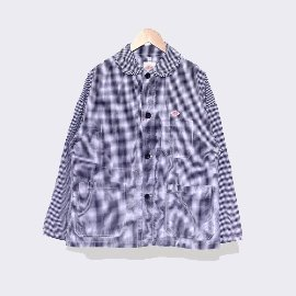 [단톤]DANTON_코튼 포플린 프레이드 셔츠자켓 JD-3810MTP WOMENS COTTON POPLIN PLAID SHIRTS JACKET  BLUE CHECK