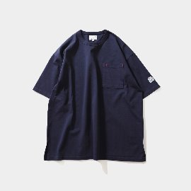 [홀리선]HORLISUN_Lawrence Overfit Short Sleeve Pocket T-shirts Navy